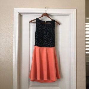 Marciano Black and peach swing dress